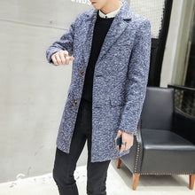 Load image into Gallery viewer, Fashion lapel collar slim fit solid color coat men winter thicken woollen coat men wool & blends men 3-colors size m-3xl NDY2