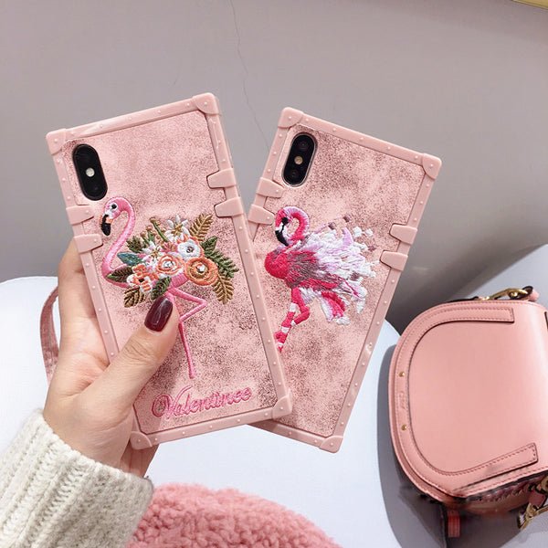 Cases For iPhone 11 Pro Max Xs Max Xr Cover Square Pink Embroidery Flamingo Cover For iPhone X Xs 6 6S 7 8 Plus Case With String