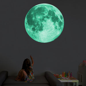 8/12/20/30cm Energy Storage Fluorescent Glow In the dark DIY 3D Moon Earth Wall Stickers for Kids Rooms Decor Home decoration