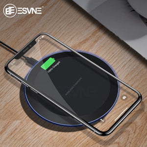 ESVNE 10W Fast Wireless Charger for iPhone X Xs MAX XR 8 plus Charging for Samsung S8 S9 Plus Note 9 8 USB Phone Qi Charger Pad