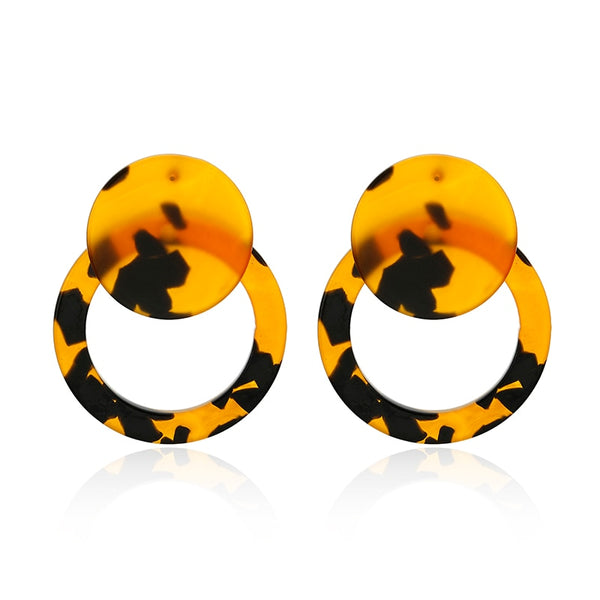Personality 2019 Round Large Long Acrylic Acetate Drop Earrings For Women Rectangle Tortoiseshell Earring Za Jewelry