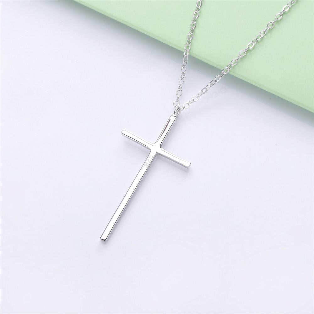 Slovehoony Plain 925 sterling silver personalized cross shape pendant necklace for costume necklace