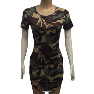 New Fashion Women Summer Dress Short Sleeve Sexy Mini Dresses women Green Camouflage Print Woman Vestidos