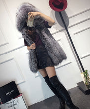 Load image into Gallery viewer, 2019 Spring new women hooded fur coat silver fox imitation fur vest plus size ladies fox fur coat
