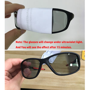 Cycling Photochromic Sunglasses Men Polarized Chameleon Discoloration Sun Glasses Outdoors Sports Square Driving Accessories