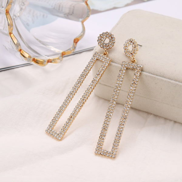 RscvonM 3 Colour Gold Color Long Crystal Square Dangle Earrings for Women Wedding Drop Earing Brinco Fashion Jewelry Gifts