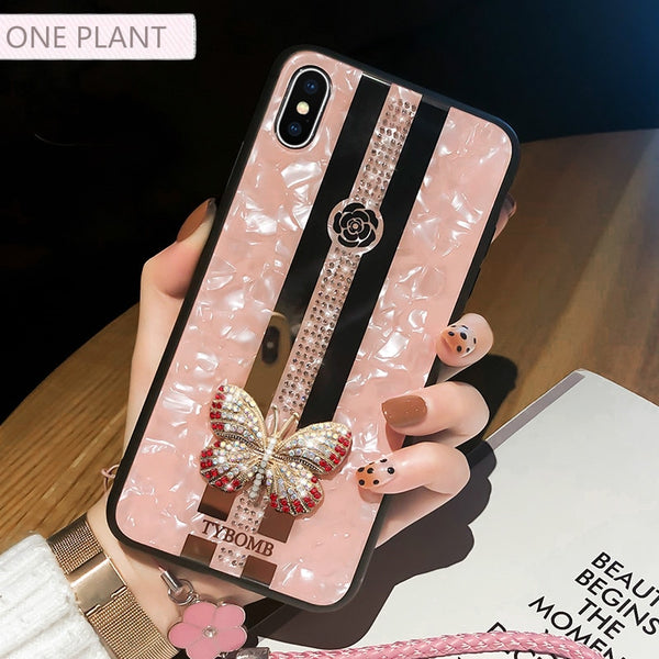 Luxury Creative Mirror Fashion 3D Inlaid butterfly Phone Case For iPhone X XR XS MAX 11 Pro Max Cover For iPhone 7 8 6 Plus Case