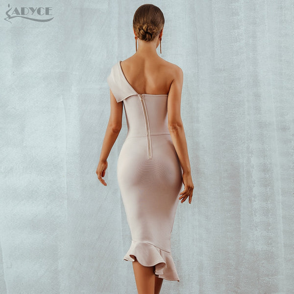 Adyce 2020 New Summer Women Bandage Dress Vestidos One Shoulder Sleeveless Ruffles Nightclub Dress Celebrity Evening Party Dress
