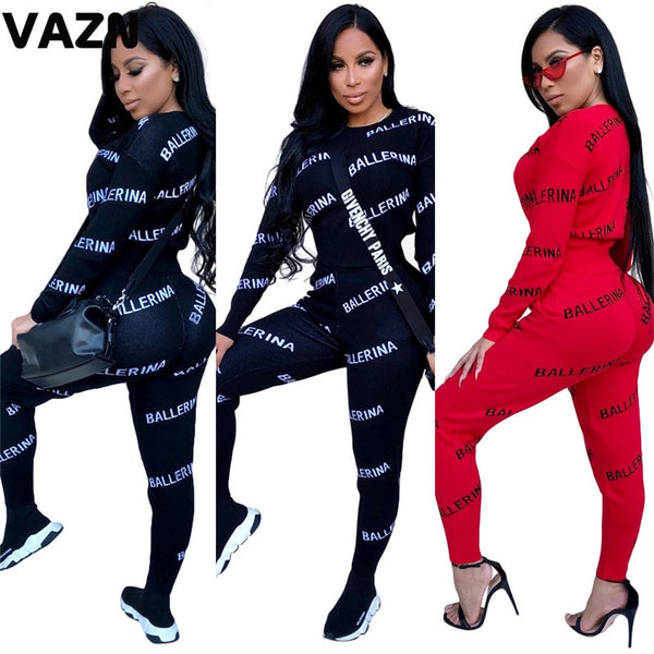 VAZN GWNY18654 Summer Red Black Letter Print O-neck 2019 Set Long sleeve Long Pant 2 Piece Sets Night Club Young WInd Sets