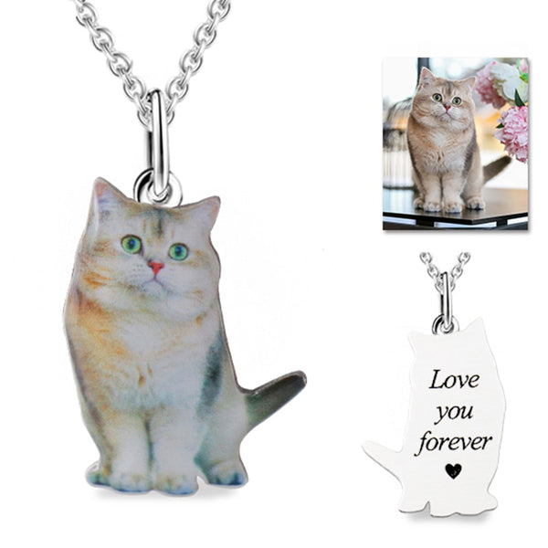 Custom Pet Cat Photo Silver Pendant Necklace Engraved Words 925 Sterling Silver Dog Photo Necklace Women Men Memorial Best Gift