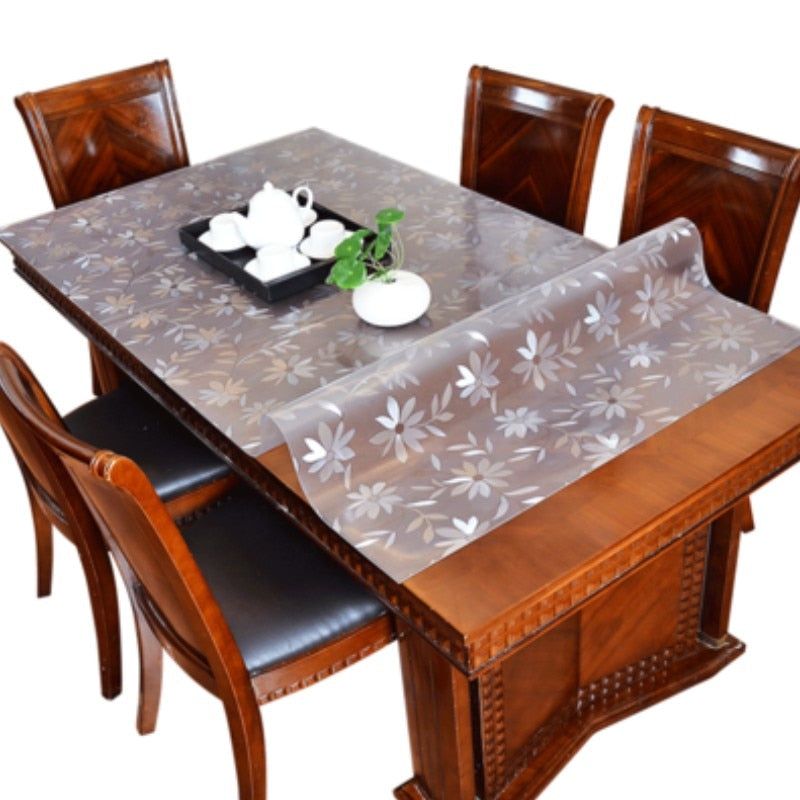 Thickened 1.5mm transparent cosmos PVC tablecloth waterproof table cover oil-proof kitchen custom soft glass protection mat