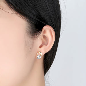U Shape Silver Color crystal Crystal Stud Earrings For Women New Brincos Flower Wedding Fashion Jewelry Mujer Best Friend Gift