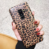LAPOPNUT Phone Cases for Samsung Galaxy S10 S9 S8 Plus Leopard Print Slim Shockproof Flexible Matte Silicone Back Cover Coque