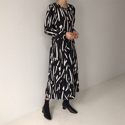 vintage style 2020 new Spring Summer Printing  Dress  Midi Dress   Elegant Party Vestidos