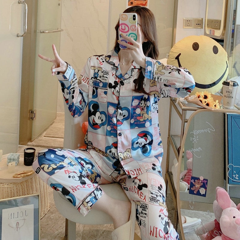 Disney cartoon Mickey Minnie ice silk pajamas women long-sleeved