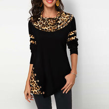 Load image into Gallery viewer, Cotton Leopard Print top Women's Blouses Shirts Casual Plus Size 2020 Spring Female Tunic Irregular Button Womens Tops Blouses