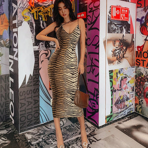 Leopard Print Strap Sexy Vintage Dress Summer Women Streetwear Party Dresses Backless Cami Sleeveless Pencil Bodycon Maxi Dress