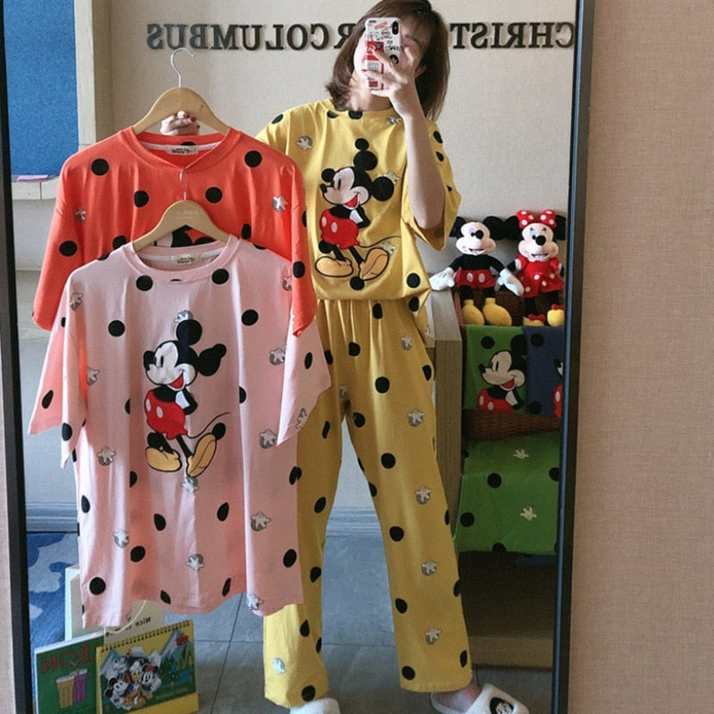 Disney Mickey Dot Summer Milk Silk Mickey Mouse Pajamas Women's Short Sleeve Trousers Cartoon Mickey Ms. Loose Home Service