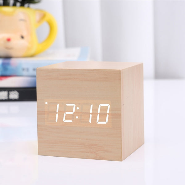New Arrival Wooden LED Alarm Clocks Temperature Electronic Clock Sounds Control Digital LED Display Desktop Calendar Table clock