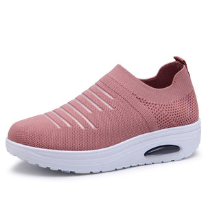 Women Flats Stretch Fabric Vulcanized Shoes sneaker shoes Mesh Breathable Female Platform Ladies Casual Knitted Shoes woman