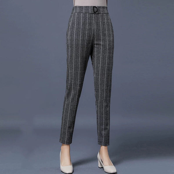 elastic striped harem pants black suit pants women fashion high waist sashes pockets office middle aged female Casual pants