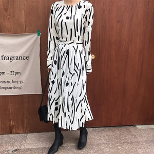 vintage style 2020 new Spring Summer Printing  Dress  Midi Dress