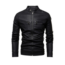 Load image into Gallery viewer, Men Autumn Motorcycle Causal Leather Jacket Coat Mens Outfit Fashion Biker Zipper PU Leather Jackets Man Slim Collar Overcoat