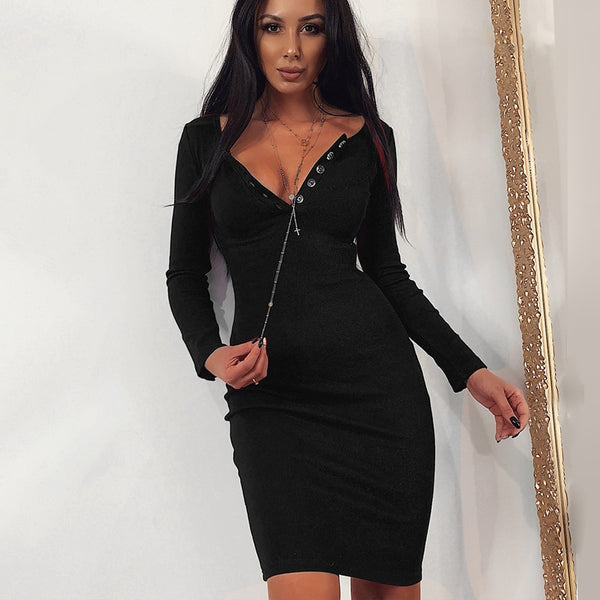 WannaThis Ribbed Knitted V-Neck Long Sleeve Autumn Mini Dresses Sexy Front Button Bodycon Solid Elastic Skinny Women Party Dress