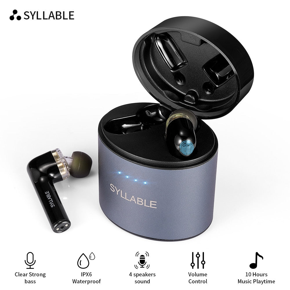 Original SYLLABLE S119 bluetooth V5.0 bass earphones wireless headset noise reduction SYLLABLE S119 Volume control earbuds (Ochre color)