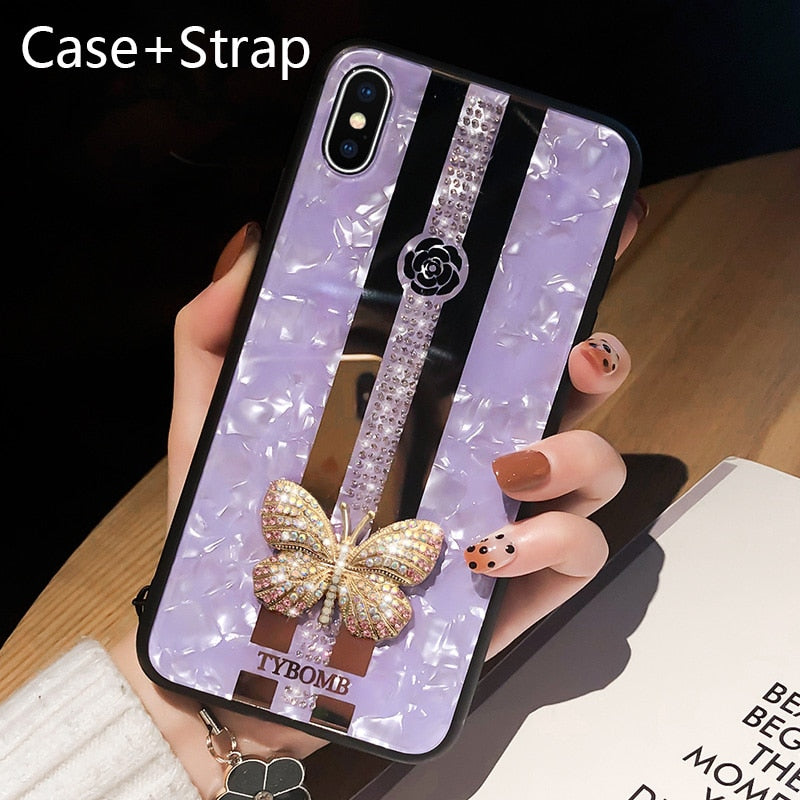 Luxury Creative Mirror Fashion 3D Inlaid butterfly Phone Case For iPhone