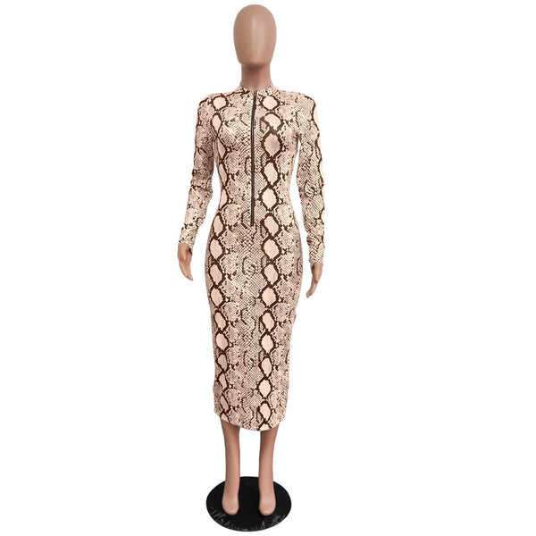 Sexy Snake Print Bodycon Long Dress Long Sleeve