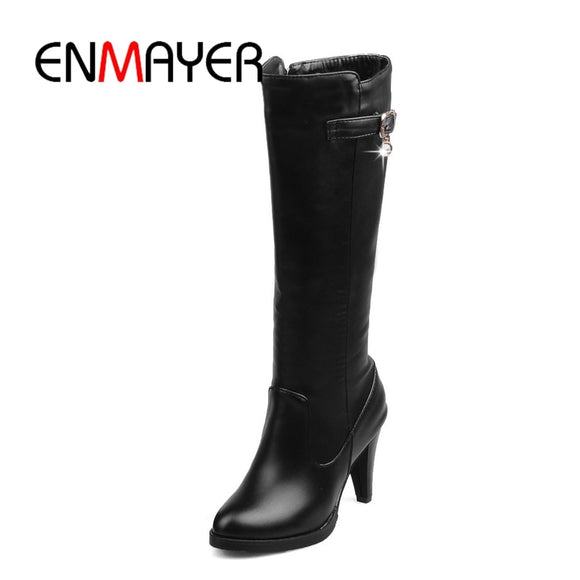 ENMAYER Top quality comfortable leather boots women  pointed toe  lady high heels chunky boots Size34-43 thigh high boots