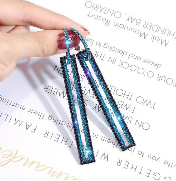 Fashion Long Geometric Drop Earrings Luxury Gold Silver Color Rectangle Rhinestone Earring for Women Party Jewelry Gift