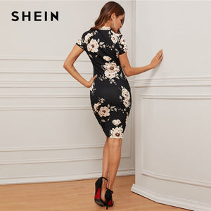 SHEIN Black Mock-Neck Floral Print Bodycon Dress Women 2020 Spring Stand Collar Short Sleeve Elegant Fitted Midi Dresses