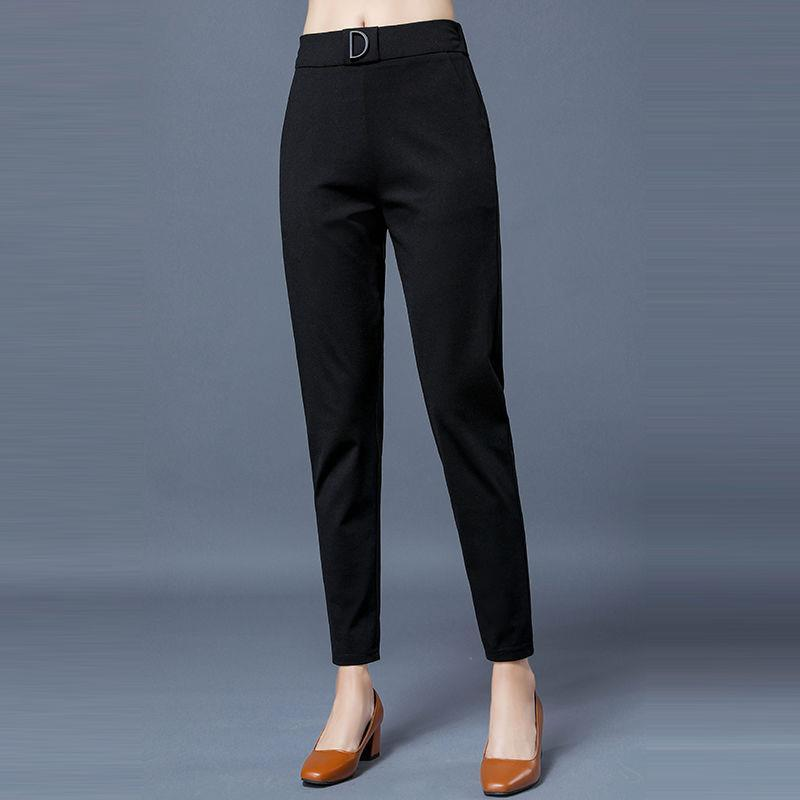 fashion high waist sashes pockets office middle aged female Casual pants
