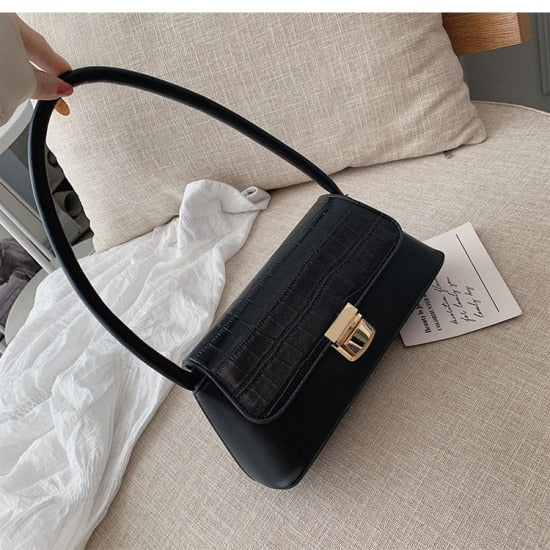 Solid Color Stone Pattern PU Leather Shoulder Bags For Women