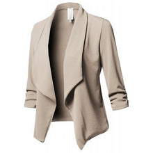 Load image into Gallery viewer, Women Black Blazers Cardigan Coat 2019 Long Sleeve Women Blazers and Jackets Ruched Asymmetrical Casual Business Suit Outwear