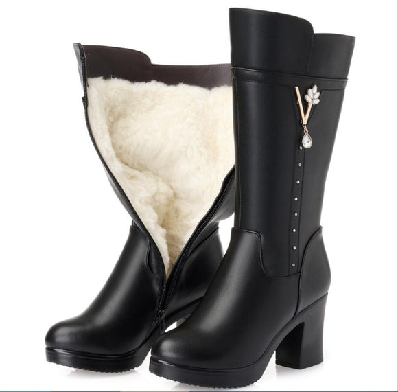CY395 Women's winter boots new genuine leather female boots plus size 43 warm high-heeled wool boots women trend Martin boots