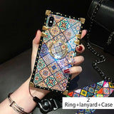 Luxury 3D Bracket Ring Blu-ray Square Silicone case For iPhone