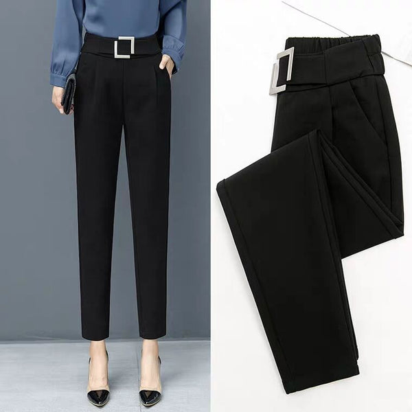 Fashion high waist Striped pants sashes pockets office Elastic middle aged female Casual Harem pants