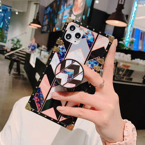 For Samsung S8 S9 Plus Note 8 Note 9 Note 10 Coque Luxury Square Metal Rivet Back Cover INS Flowers Full Protective Holder Case
