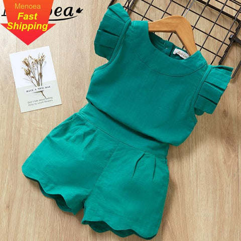 Summer New Style Brand  Baby Girls Clothes short Sleeve T-Shirt+Pant Dress 2Pcs