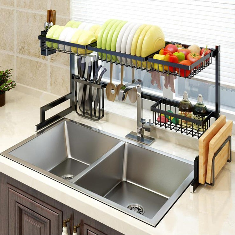 Kitchen Shelf Organizer Dish Drying Rack Over Sink