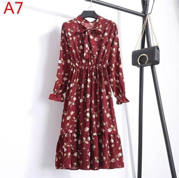 Korean Black Shirt Vestidos Office Polka Dot Vintage Autumn Dresses Women Dresss Pring 2020 Midi Floral Long Sleeve Dress Female