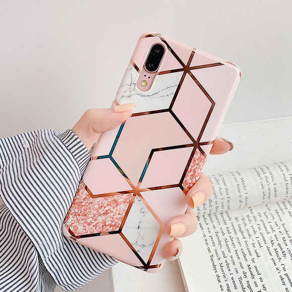 LOVECOM Plating Geometric Marble Phone Case For Huawei
