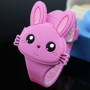 Lovely Rabbit Cartoon Children Watches Flip Cover