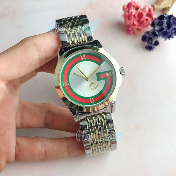 Hot Sale Newest Top Lady Silver Gold Steel brand Quartz Watch