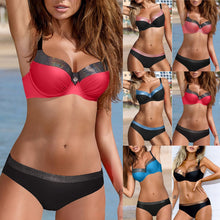 Load image into Gallery viewer, Women Solid Tankini Padded Push up Bra Bikini Set Swimsuit
