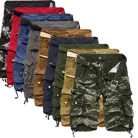 Military Cargo Shorts Men Summer Camouflage