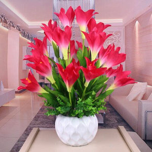 Modern Ceramic Vase+Artificial Flower Lily Set